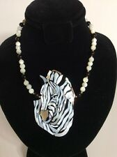 """Lee Sands 18-20"""" Zebra Shell Inlaid Mother of Pearl Necklace Hawaii Ebony Wood"""