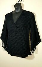 New STYLE & CO. Black LACE Peasant Sleeves Woman's 1X Blouse Stretch Macy's