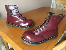 VINTAGE Dr Martens 7 Eye Cherry Red Stivali UK 5 EU 38 Inghilterra in Acciaio Pelle 1460