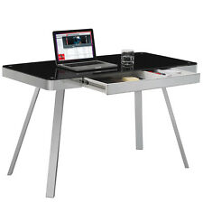 Home Office Tech Desk Computer PC Writing Table WorkStation Glass & Metal