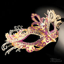 3D Laser Cut Metal Mardi Gras Venetian Masquerade Mask for Women [Gold/Purple]
