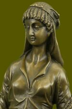 Beautiful French Reproduction Gilded Bronze Maiden w Wheat Signed Eutrope Bouret