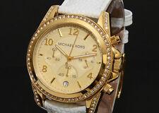 Michael Kors MK5460 Gold White Leather Strap Chronograph Ladies Watch RRP £299