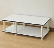 Furinno JUST Mid TV Stand White w-Espresso Edging 11174WH-EX-WH TV Stand NEW