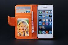 Leather Magnetic Flip Folio Card Slot Wallet Stand Purse Case For iPhone Samsung