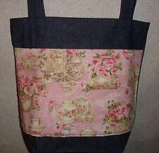 NEW Handmade Tea Teapots & Pink Garden Roses Large Denim Tote Bag