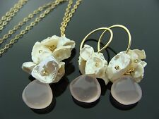Pink Chalcedony Keshi Pearl 14K Gold Filled Gemstone Earrings and Necklace Set