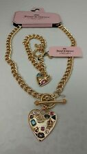 JUICY COUTURE GOLD HEART TOGGLE NECKLACE & BRACELET SET MULTICOLORED CRYSTALS