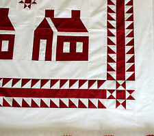 Red & White School house w/ Ohio stars & great borders quilt top -  Queen sized