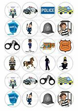 24 Police Wafer / Rice Paper Cupcake Topper Edible Fairy Cake Bun Toppers