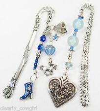 #6495 - WESTERN BLUE BOOT HEART HORSE CHARM BEADED SILVER BOOKMARK SET
