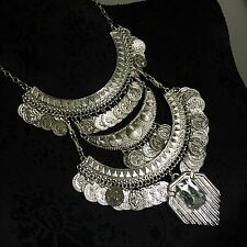 Bib Boho Gypsy Statement Silver Tone Necklace Crystal Coin Charm