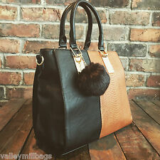 Womens Black & Brown Moda Tote Handbag Faux Leather with Free River Island Gift