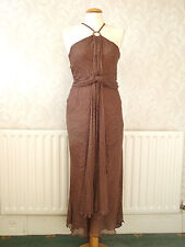 Elegant & Sexy J Taylor Brown 100% Silk Evening/Party/Cocktail Dress Size 12
