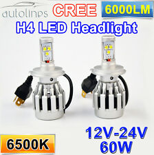 H4 LED 60W CREE 6000LM Car Xenon White Headlight Lamp High Low Kit Globes Bulbs!