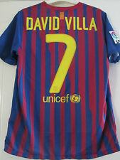 Barcelona 2011-2012 David Villa 7 Home Football Shirt Size Youth  /40202