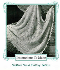 Vintage Knitting pattern-How to make shetland lace baby christening shawl,2 ply