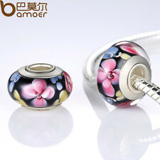 Lampwork Flowers Series European Murano Black Beads For Charm P Bracelet Jewelry