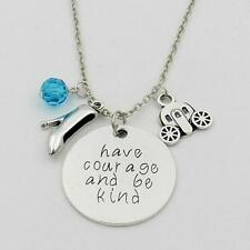"HAVE COURAGE AND BE KIND CHARM NECKLACE 18"" Cinderella Disney Inspired Pendant"