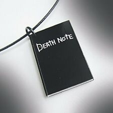 Death Note Black Notebook w/ Inscription on Backside Charm on Wire Necklace
