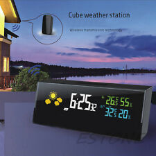 Hot Cube Digital LCD Display Sensor Wirless Weather Station Clock Indoor Outdoor