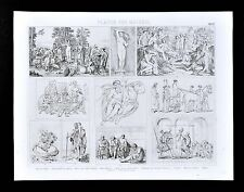 1874 Print Neoclassical - David Oath of the Horatii - Mengs Parnass - Ingres etc