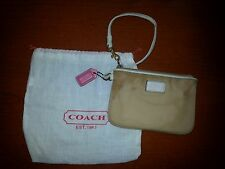 COACH NYLON  SMALL  WRISTLET BEIGE WITH WHITE LEATHER PINK TAG & DUST COVER
