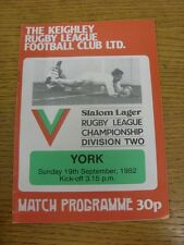 19/09/1982 Rugby League Programme: Keighley v York  . Condition: We aspire to in