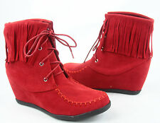 NEW Women's Causal Lace Up Fringe Wedge Sneaker Booties Shoes Size 6 -10
