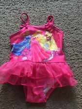 Cute little girls size 2T Disney Princess pink one piece swimsuit ruffled