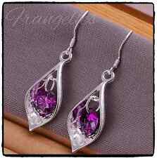 Ladies 925 Sterling Silver Leaf Tear drop Dangle Gem Hook Earrings Gift