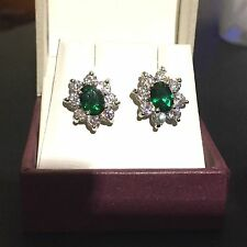 Oval green emerald & sim diamonds silver (white gold gf) stud earrings BOXD Plum