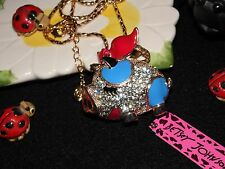 "NWT Betsey Johnson ""When Pigs Fly"" Shinny Crystal Pendant 28"" Chain Necklace"
