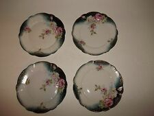 4 ANTIQUE Vintage Victorian Bread & Butter Plates HP Pink White Roses Teal Gold