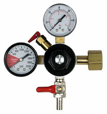Dual Gauge CO2 Gas Regulator With 3/8in Shutoff Valve (0-60 PSI)