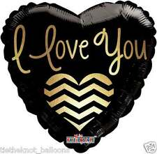 "18"" FOIL BALLOON VALENTINES DAY BLACK AND GOLD I LOVE YOU"