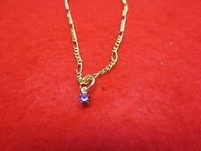 """14 KT GOLD EP 2MM FIGARO ANKLET 9 1/2"""" WITH A MARCH CRYSTAL BIRTHSTONE DROP"""