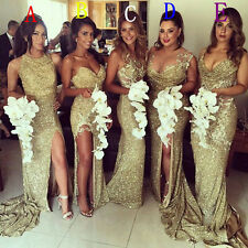 Sexy Gold Sequins 2016 Bridesmaid Dresses Side Slit Sparkly Wedding Party Dress
