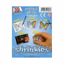 PACK OF 50 SHEETS CRYSTAL SHRINKLES 13cm x 10cm CHILDREN SCHOOL SHRINK ART 1603