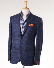 NWT $3195 SARTORIA PARTENOPEA Blue-Brown Check Wool-Cashmere Sport Coat Slim 40R