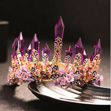 Purple Crystal Queen Tiara Crown Girl Accessory Wedding Bridal Headband For Gift