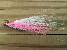 Fly Fishing Flies (Trout, Redfish, Bass) Clouser Minnow Silver, Pink & White (6)
