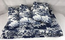 Pottery Barn MATINE TOILE King Quilt & 3 Quilted Euro Shams Twilight Blue USED