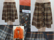 Orsay Rock Kilt Mini Herbst Winter Wolle Knöpfe Braun Kariert S + Tuch Orange 1A