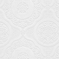 Wallpaper Paintable White Textured Damask Medallion