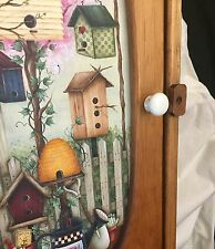 Handmade Solid Wood Wall Hanging Cabinet / Door Scenic Pic & Multiple Shelf Poss