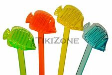20 Assorted Color Tropical Nautical Fish Swizzles - Luau Party Cocktail Stirrers