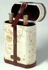 Old World Map Two Bottle Wine Case / Box