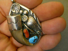 """Turquoise coral faux claw sterling silver pendant signed AT 2 3/8"""""""