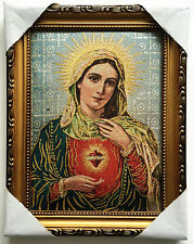 """Catholic Our Lady Of Vintage Mary Heart Religious Wall Textile Cloth Statue 11"""""""